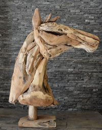 Holzskulptur Holzkunst Treibholz Statue Teak Deko Holzobjekt Pferde Büste