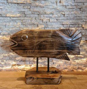Teakholz Skulptur Holzkunst Holzfisch Holzobjekt