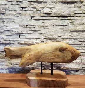 Teakholzskulptur Holzobjekt Holzkunst Fisch