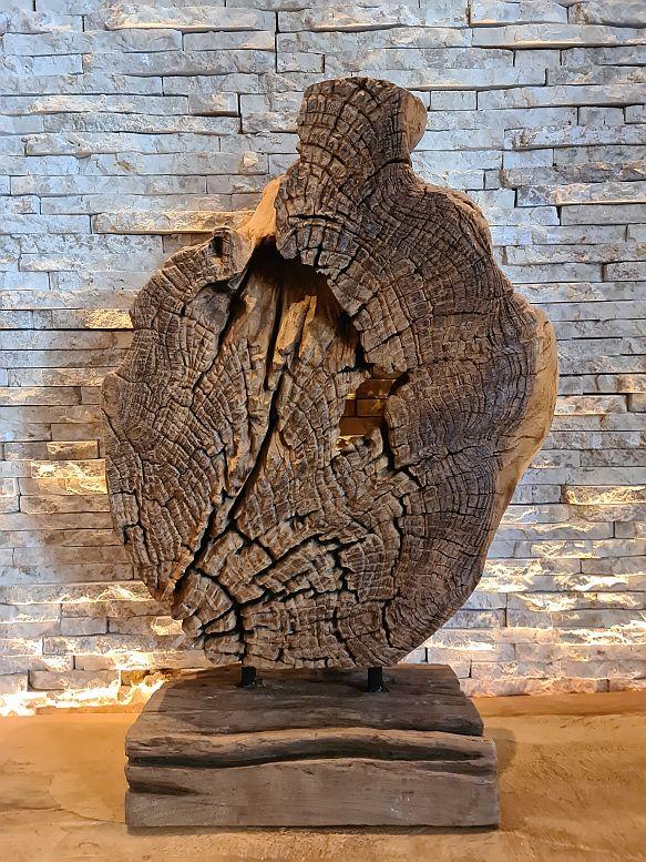 Teakholz Holzkunst Holzobjekt Baumscheibe
