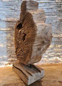 Teakholz Skulptur Holzkunst Holzobjekt Baumscheibe