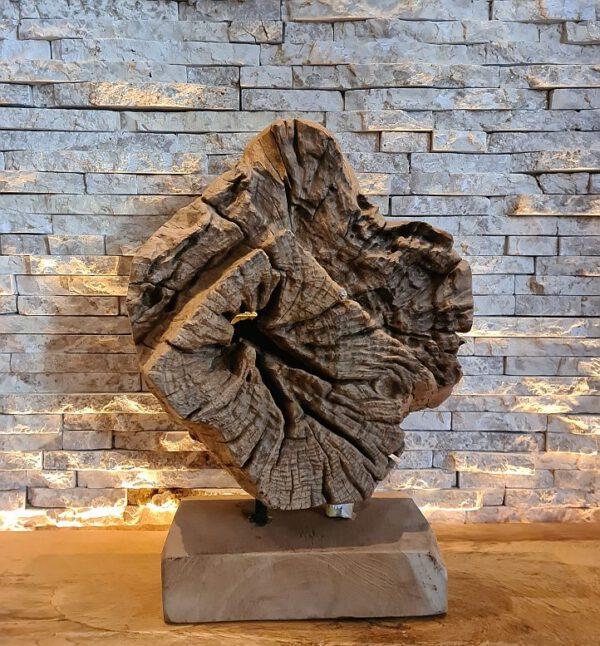 Holzskulptur Holzobjekt Treibholz Holzdeko Teakholz Baumscheibe abstrakt