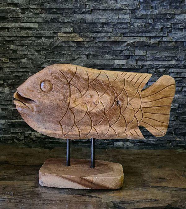 Teakholzskulptur Holzobjekt Holzkunst Fisch Teak Holz Skulptur Wurzel Kunst Statue Figur Holzobjekt Ho.2103