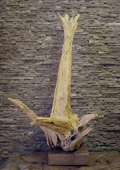 Holzskulptur Treibholz Holzobjekt Wurzeldeko Schwemmholzkunst abstrakt Ho.758