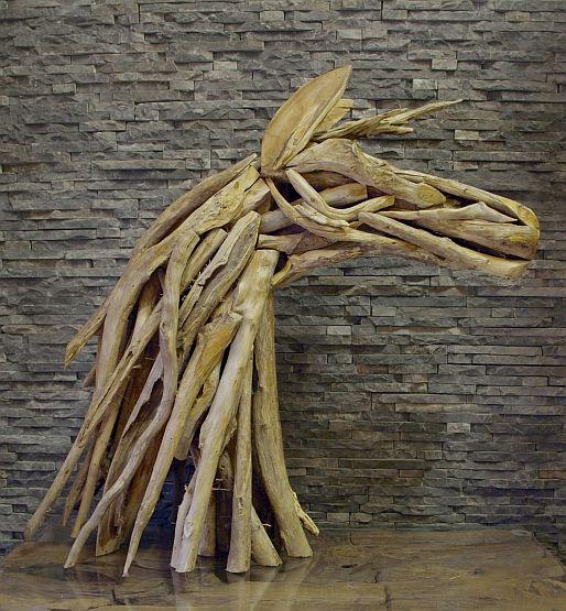 Holzskulpturen Treibholz Holzobjekt Pferdebüste Teakdeko Schwemmholz Skulptur Ho.895